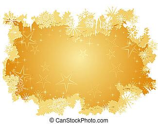 Golden Grunge Hintergrund mit Sternen und Schneeflocken