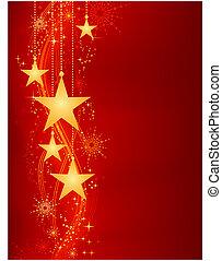Goldene hängende Sterne auf rotem Hintergrund mit Grungeelementen