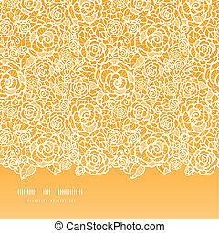 Goldene Spitzenrosen horizontaler, nahtloser Hintergrund.