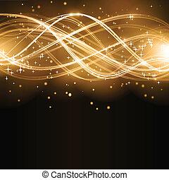 Goldene Wellenmuster mit Sternen abbrechen