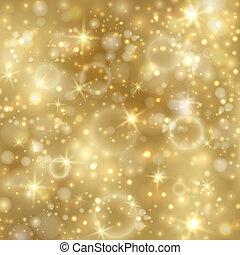 Goldener Hintergrund mit Sternen und funkelnden Lichtern