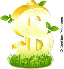 Goldenes Dollarzeichen mit grünen Blättern im Gras.