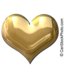 Goldenes Herz aufgedunsen