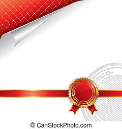goldenes, &, königlich, -, abbildung, vektor, design, siegel, qualität, rotes