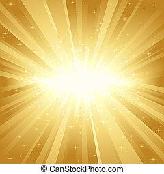 Goldenes Licht platzte vor Sternen