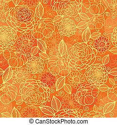 goldenes, muster, seamless, beschaffenheit, orange hintergrund, blumen-