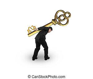 goldenes, schatz, dollarzeichen, form, tragen, schlüssel, geschäftsmann