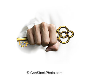 goldenes, schlüssel, schatz, dollar, hand, form, besitz, zeichen