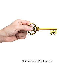goldenes, schlüssel, symbol, schatz, hand, form, besitz, euro