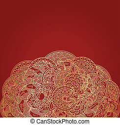 goldenes, verzierung, feuerdrachen, asiatisch, hintergrund, rotes