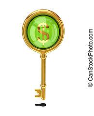 goldenes, zeichen., dollar, schlüssel, weinlese