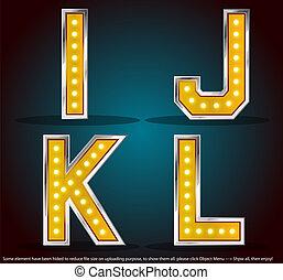 Goldfarbener Silberstreich mit Lampen Alphabet