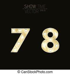 Goldfiguren 7 und 8 mit einem Lockenmuster. Wunderschöne Glühbirnen. Realistische Vektorgrafik auf einem dunklen Hintergrund für Shows und Präsentationen