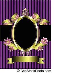 Goldfloralrahmen auf einem klassischen lila gestreiften Hintergrund