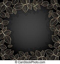 Goldrahmen mit Blättern.