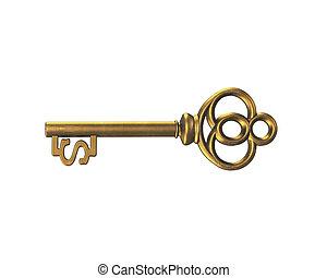 goldschatz, dollarzeichen, übertragung, schlüssel, form, 3d