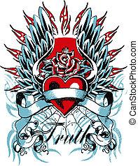 Gothisches Herz und Flügel