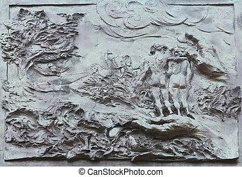 Gott erschafft die Erde, Adam und Eva, Detail an der Tür der Kirche des St. James, das größere in porto azzurro, elba, italy
