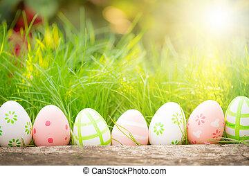 grün, eier, gras, ostern