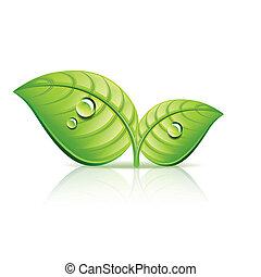 Grün hinterlässt die Ökologik Ikonen-Vektorgrafik.