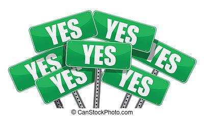 grün, ja, design, abbildung, zeichen & schilder