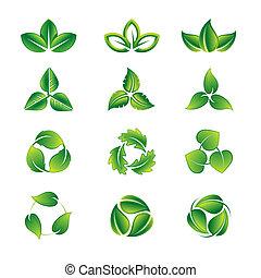 Grün lässt Icon Set