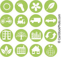 Grüne Ökologie-Ikonen