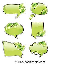 Grüne Banner mit Blatt. Vector