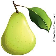 Grüne Birne mit Blatt.