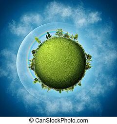 Grüne Erde. Abstract eco Hintergründe über blauen Himmel und Wolken