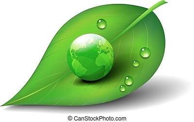 Grüne Erde auf Blattsymbol.