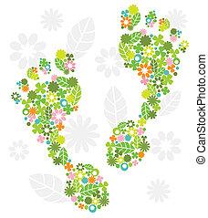 Grüne Füße aus Blumen.