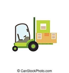 Grüne Gabelstapler-Lagerwagen heben die Papierkartonpakete, Lagermaschinen ohne Fahrer