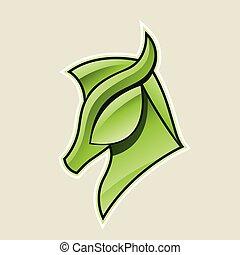Grüne, glänzende Pferdekopf Icon Vektorgrafik.