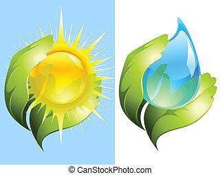 Grüne Hände halten Wasser und Sonne