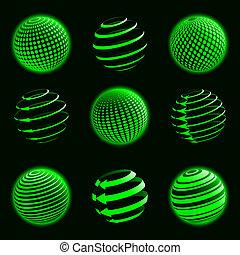 Grüne Planeten-Ikonen.