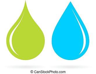 Grüne und blaue Wassertropfen.