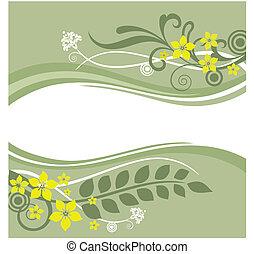 Grüne und gelbe Blumengrenzen