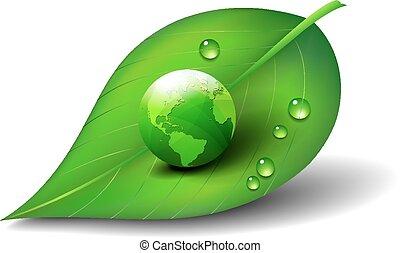 Grüne Welt auf Blattsymbol.