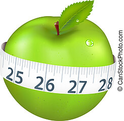 Grüner Apfel mit Maß.