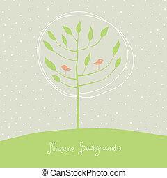 Grüner Baum mit Vögeln auf Ästen. Vector, EPS8.