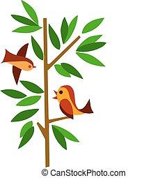 Grüner Baum mit zwei Vögeln