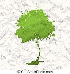 Grüner Baum. Zerknülltes Papier