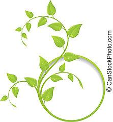 Grüner Blumenrahmen