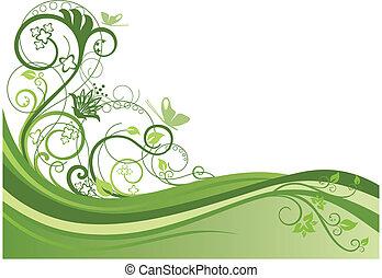 Grüner Blumenrand Design 1