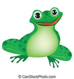 Grüner Frosch im weißen Hintergrund