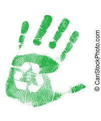 Grüner Handabdruck mit Recycling