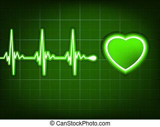 Grüner Herzschlag. Ekg graph. EPS 8