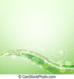 Grüner Hintergrund mit fließenden Linien und Funkeln abbrechen