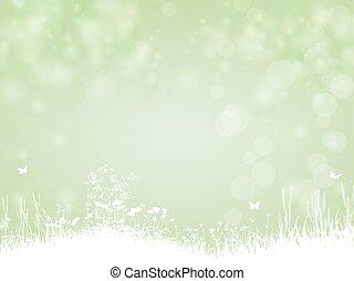 Grüner Hintergrund mit Schmetterling und Pflanzen.